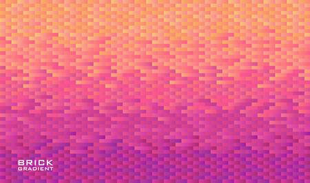 Horizontal background grid of rectangle bricks with gradient from yellow to violet. Pixel effect. Trendy design template. Vector illustration.