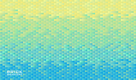 Horizontal background grid of rectangle bricks with gradient from yellow to light blue color. Pixel effect. Trendy design template. Vector illustration