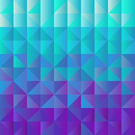 Square background grid of triangles with gradient from light blue to purple. Trendy design template of banner, cover. Vector illustration