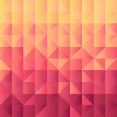 Square background  grid of triangles with gradient from yellow to vinous color. Trendy design template of banner, cover. Vector illustration 向量圖像