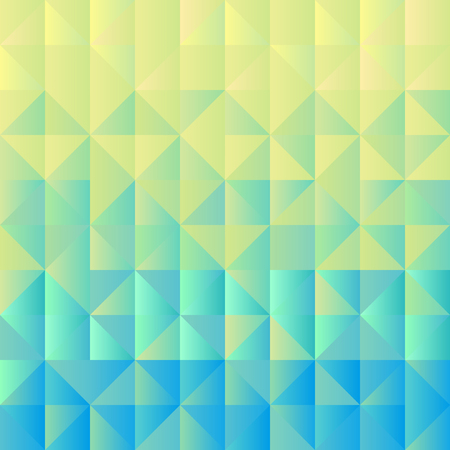 Square background  grid of triangles with gradient from yellow to light blue. Trendy design template of banner, cover. Vector illustration 向量圖像
