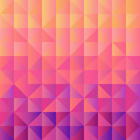 Square background  grid of triangles with gradient from yellow to violet. Trendy design template of banner, cover. Vector illustration 向量圖像