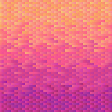 Square background  grid of bricks with gradient from yellow to violet. Pixel effect. Trendy design template of banner, cover. Vector illustration
