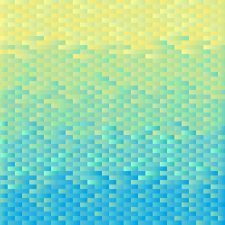 Square background grid of bricks with gradient from yellow to light blue. Pixel effect. Trendy design template of banner, cover. Vector illustration 向量圖像