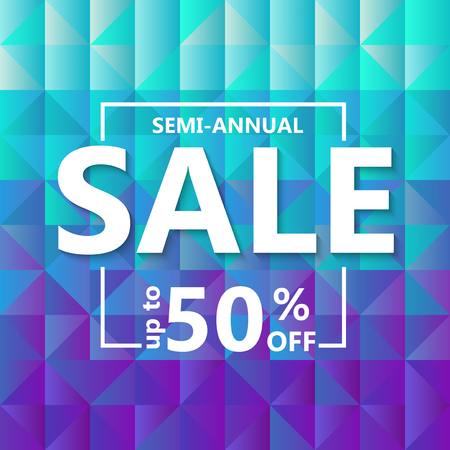 Template design of sale web banner. Square background  grid of triangles with gradient from light blue to purple. Vector illustration 向量圖像