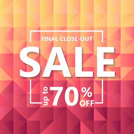 Template design of sale web banner. Square background  grid of triangles with gradient from yellow to vinous color. Vector illustration
