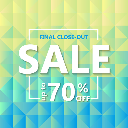Template design of sale web banner. Square background  grid of triangles with gradient from yellow to light blue. Vector illustration