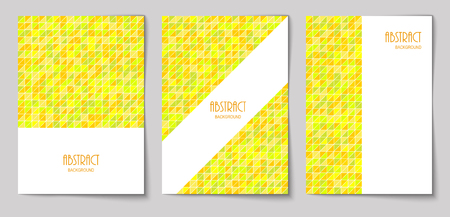 Set of vertical mosaic background with vibrant yellow triangle elements and white place for text. Vector illustration.