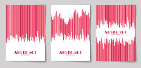 Set of abstract vertical background with striped pattern in pink colors. Design template of flyer, banner, cover, poster in A4 size. Vector illustration.