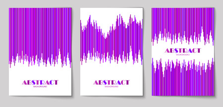 Set of abstract vertical background with striped pattern in purple colors. Design template of flyer, banner, cover, poster in A4 size. Vector illustration. Çizim