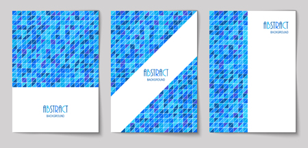 Set of vertical mosaic background with blue triangle elements and white place for text. Vector illustration.