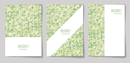 Set of vertical mosaic background with olive color triangle elements and white place for text. Vector illustration.