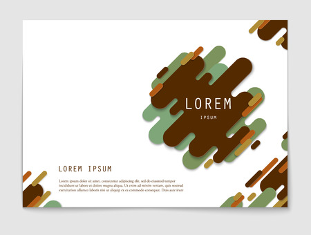 Horizontal abstract background with rounded stripe shapes and copy space. Paper cut modern design. Template of flyer, banner, cover, poster. Vector illustration.