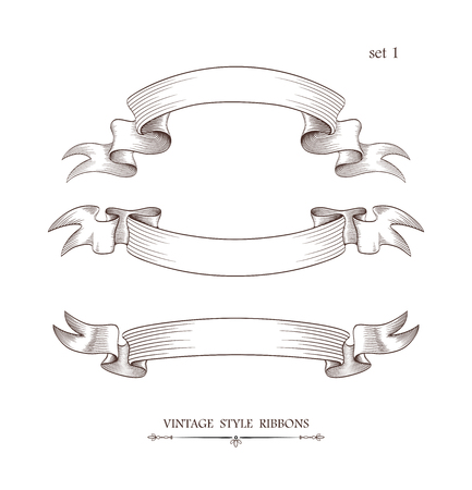 Set of vintage arcuate ribbons. Engraving style vector illustration. Retro hand drawn labels, banners and logo elements. 向量圖像