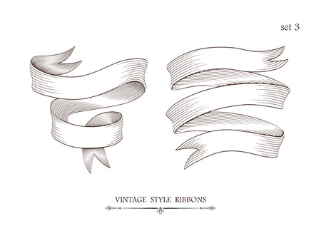 Set of vintage two-stripe and three-stripe ribbons. Engraving style vector illustration. Retro hand drawn labels, banners and logo elements.