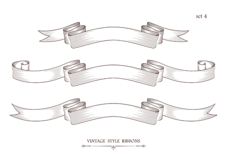 Set of vintage ribbons. Engraving style vector illustration. Retro hand drawn labels, banners and logo elements.