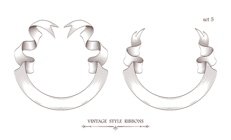 Set of vintage semicircle ribbons. Engraving style vector illustration. Retro hand drawn labels, banners and logo elements.