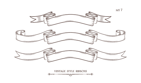 Set of vintage hand drawn ribbons. Collection of retro labels, banners and logo elements. Logotype design. Vector illustration. 向量圖像