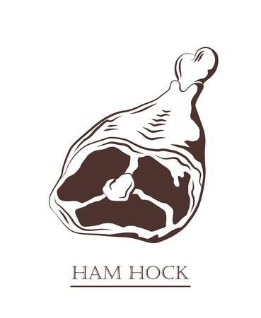 Ham hock. Pork knuckle isolated on white background. Meat on the bone. Black and white hand drawn vector illustration. Icon, emblem, logo element. Illustration