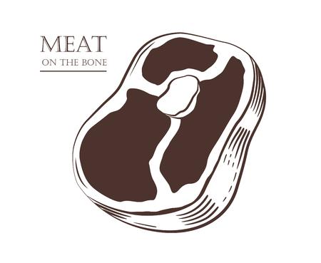 Meat chunk on the bone. Steak isolated on white background. Slice of pork. Black and white hand drawn vector illustration. Icon, emblem, logo element. 向量圖像