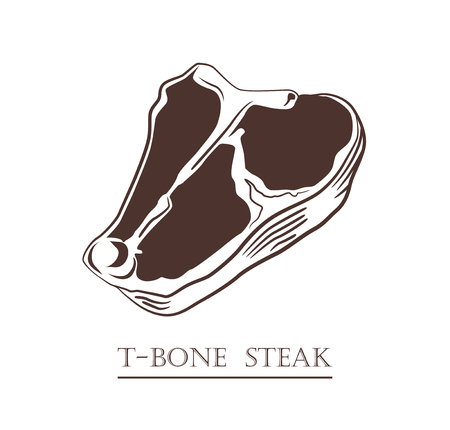 T-bone steak. Piece of meat isolated on white background. Cut of beef. Black and white hand drawn vector illustration. Icon, emblem, logo element.