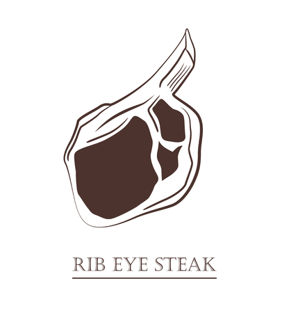 Rib eye steak. Piece of meat isolated on white background. Cut of beef on the bone. Black and white hand drawn vector illustration. Icon, emblem, logo element.