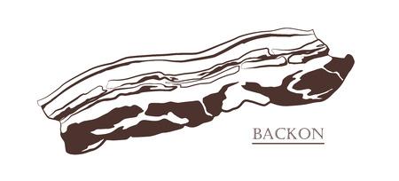 Bacon isolated on white background. Slice of pork. Black and white hand drawn vector illustration. Icon, emblem, logo element.