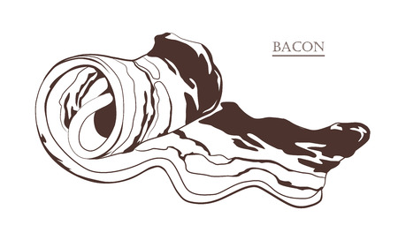 Bacon rolls isolated on white background. Slice of pork. Black and white hand drawn vector illustration. Icon, emblem, logo element.