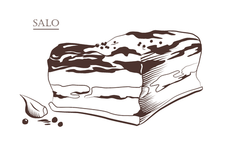 Piece of salo isolated on white background. Slanina, solonyna, lardo. Salted or cured pork fat. Black and white hand drawn vector illustration. Icon, emblem, logo element. Ilustrace