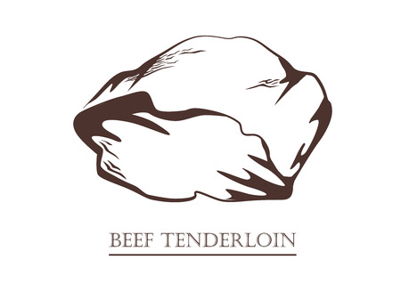Beef tenderloin. Piece of meat. Black and white hand drawn vector illustration. Icon, emblem, logo element.