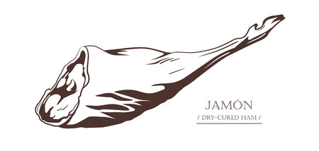 Jamon. Dry-cured ham isolated on white background. Pig leg. Black and white hand drawn vector illustration. Icon, emblem, logo element.
