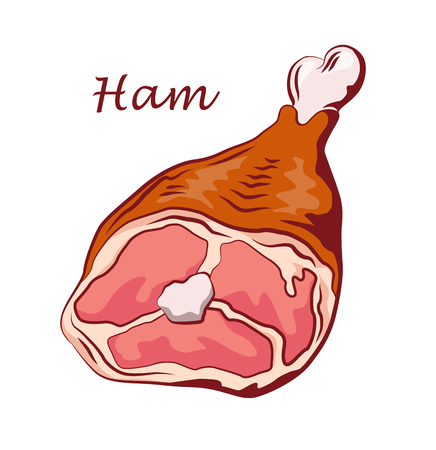 Ham hock. Pork knuckle isolated on white background. Meat on the bone. Colored image with contour. Vector illustration. Icon, emblem, logo element.