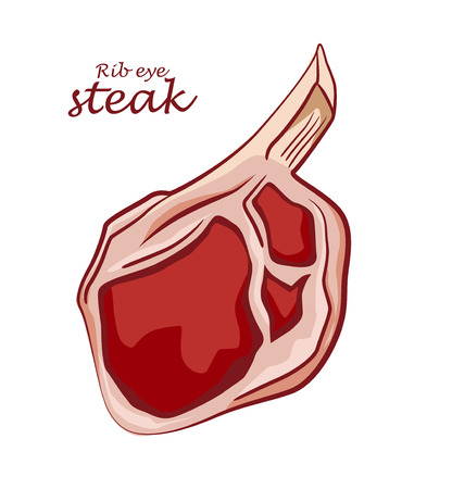 Rib eye steak. Piece of meat isolated on white background. Cut of beef on the bone. Colored image with contour. Vector illustration. Icon, emblem, logo element. 向量圖像