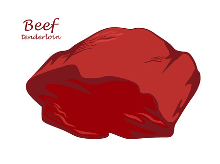 Beef tenderloin. Piece of meat. Colored image with contour. Vector illustration. Icon, emblem, logo element. 版權商用圖片 - 107368415