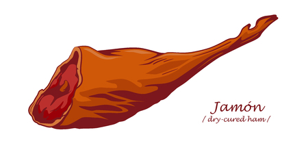 Gammon. Jamon. Dry-cured ham isolated on white background. Pig leg. Colored image with contour. Vector illustration. Icon, emblem, logo element.