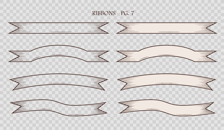 Set of simplified vintage hand drawn ribbons isolated on the sham transparent background. Collection of retro labels, banners and logo elements. Logotype design. Vector illustration. Çizim