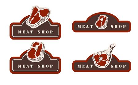 Design template of butchery signboard. Meat shop logo. Butcher market logotype. Vector illustration. 版權商用圖片 - 107449515