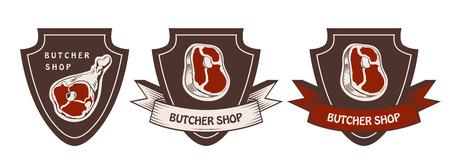 Design template of butchery label. Meat shop logo. Butcher market logotype. Vector illustration. 向量圖像