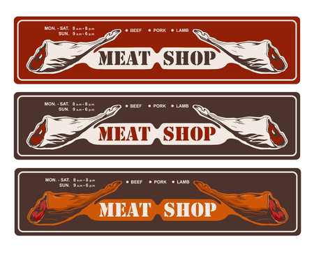 Design template of butchery signboard. Meat shop logo. Butcher market logotype. Vector illustration. 版權商用圖片 - 107449518