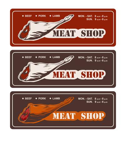 Design template of butchery signboard. Meat shop logo. Butcher market logotype. Vector illustration.