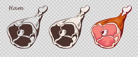 Pork knuckle. Ham hock isolated on the pseudo transparent background. Meat on the bone. Set of outline, black and white, colored images. Vector illustration. Icon, emblem, logo element. Illustration