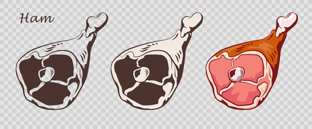 Pork knuckle. Ham hock isolated on the pseudo transparent background. Meat on the bone. Set of outline, black and white, colored images. Vector illustration. Icon, emblem, logo element. Çizim