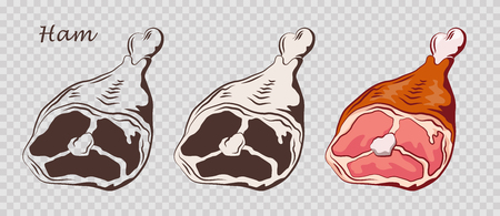 Ham hock. Pork knuckle isolated on the pseudo transparent background. Meat on the bone. Set of outline, black and white, colored images. Vector illustration. Icon, emblem, logo element.