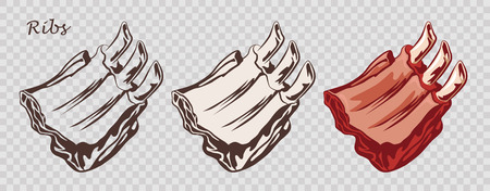Meat food. Ribs isolated on the pseudo transparent background. Cut of beef on the bone. Set of outline, black and white, colored images. Vector illustration. Icon, emblem, logo element.  イラスト・ベクター素材