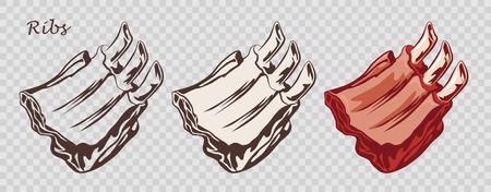 Comida de carne. Costillas aisladas en el fondo pseudo transparente. Corte de ternera con hueso. Conjunto de imágenes en color de contorno, blanco y negro. Ilustración de vector. Icono, emblema, elemento logo.