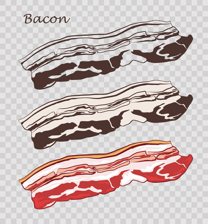 Bacon isolated on the pseudo transparent background. Slice of pork. Set of outline, black and white, colored images.  Vector illustration. Icon, emblem, logo element.