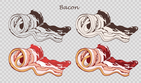 Bacon rolls isolated on the pseudo transparent background. Slice of pork. Set of outline, black and white, colored images. Vector illustration. Icon, emblem, logo element.