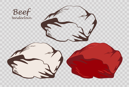 Beef tenderloin. Piece of meat. Set of outline, black and white, colored images on the pseudo transparent background. Vector illustration. Icon, emblem, logo element. Çizim