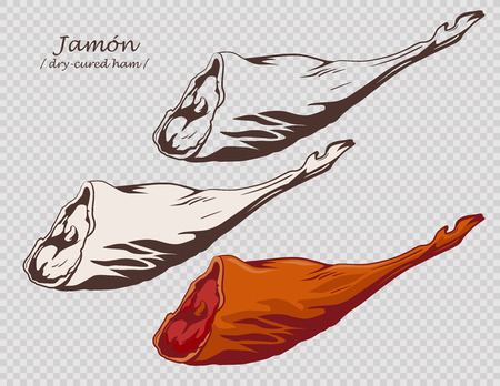 Gammon. Jamon. Dry-cured ham isolated on the pseudo transparent background. Pig leg. Set of outline, black and white, colored images.  Vector illustration. Icon, emblem, logo element.