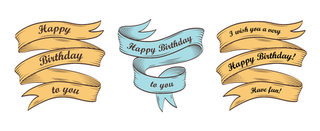 Set of vintage ribbons with inscription Happy Birthday. Retro greeting banners. Vector illustration. 版權商用圖片 - 110043256